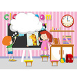 Boy and girl drawing and paintin in classroom vector image vector image