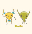 cartoon character human bladder vector image vector image