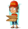 Cartoon delivery man with open pizza box vector image