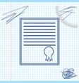 certificate template line sketch icon isolated on vector image vector image