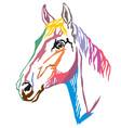 colorful decorative portrait trakehner horse-3 vector image vector image