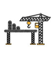 construction tower crane cabin scaffold equipment vector image vector image