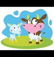 cow and goat vector image vector image