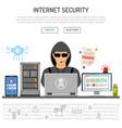 cyber crime hacking internet security concept vector image