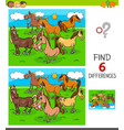 differences game with horses animal characters vector image vector image