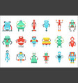 different cute fantastic robots characters set vector image vector image