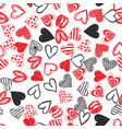 doodle love heart valentines day seamless vector image vector image