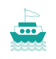 dotted shape ship transportation with flag design vector image