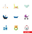 flat icon baby set of pram stroller rattle and vector image vector image