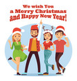 friends celebrate christmas merry christmas vector image vector image