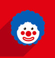 funny clown with blue hair wig 1 april fools day vector image vector image