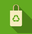 green recycle sign on paper bag icon vector image vector image