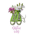 green vintage sneakers with flowers words below vector image vector image