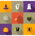 Halloween Squared Flat Icons Set 4 vector image