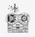Hand-drawn vintage reel to tape recorder Sketch vector image vector image