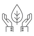 hands holding plant thin line icon ecology vector image