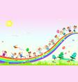 happy children play on rainbow vector image vector image