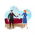 happy couple having romantic date in restaurant vector image
