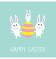 Happy Easter Three bunny rabbit family and striped vector image