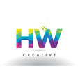 hw h w colorful letter origami triangles design vector image vector image