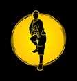 kung fu action ready to fight front view vector image