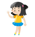 little girl wearing yellow shirt and blue skirt vector image vector image