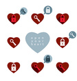 Love theme icons set with padlock and key open vector image