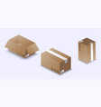 opened and closed cardboard boxes isolated on a vector image