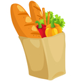 paper bag with bread and paprika vector image