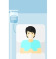Patient lying in hospital bed vector image vector image