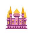 purple fairytale royal castle or palace building vector image vector image