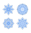 set of four round snowflakes mandalas vector image