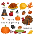 Set of Happy Thanksgiving Day holiday objects and vector image vector image