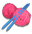 set pink tangles wool yarn and knitting vector image