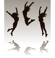 Silhouettes of a Girl Jumping vector image