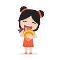 small girl eating a bowl of noodle vector image vector image