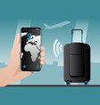 smart baggage with built-in gps tracking vector image vector image