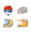 sport helmet icon set cartoon style vector image