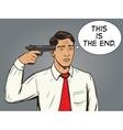 Suicide man pop art style vector image