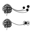 tangled and untangled brain metaphor vector image