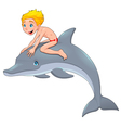 The boy and the dolphin vector image vector image
