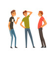 three smiling best male friends talking together vector image vector image