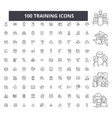 training editable line icons 100 set vector image vector image