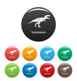 tyrannosaurus icons set color vector image vector image