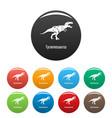 tyrannosaurus icons set color vector image
