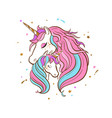 unicorn family love magic dream 3 vector image vector image