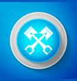 white two crossed engine pistons icon isolated vector image