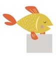 Wild animal fish strike with clean plate board vector image vector image
