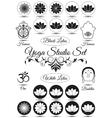 Set of black yoga studio elements vector image
