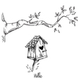 Birdhouse and the tree branch vector image vector image